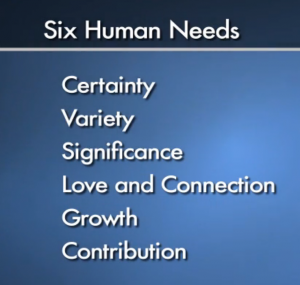 What are the 6 human needs